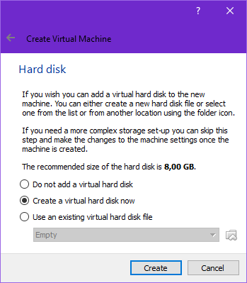 create new VDI disk in VirtualBox