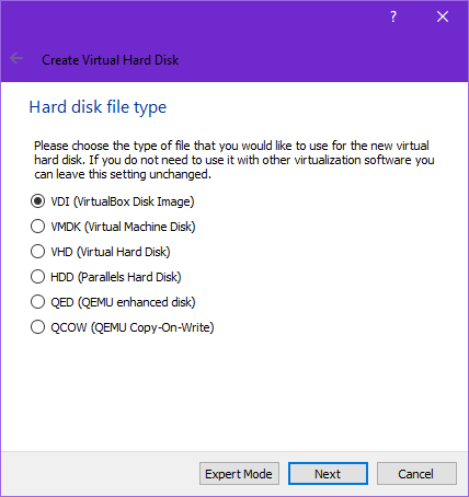 Set type of hard drive in Virtualbox