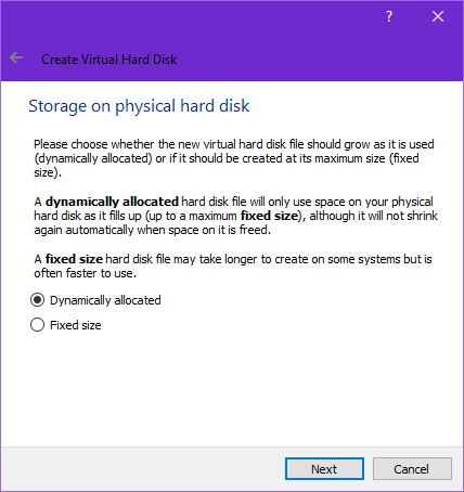Virtual hard drive storage VirtualBox settings