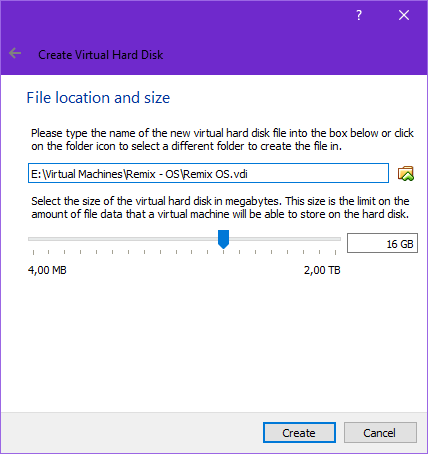 VirtualBox virtual hard disk settings