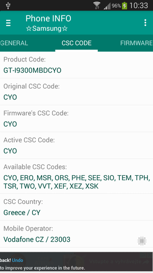 fdcae99c Phone INFO SAMSUNG General info Phone INFO Samsung CSC Code tab