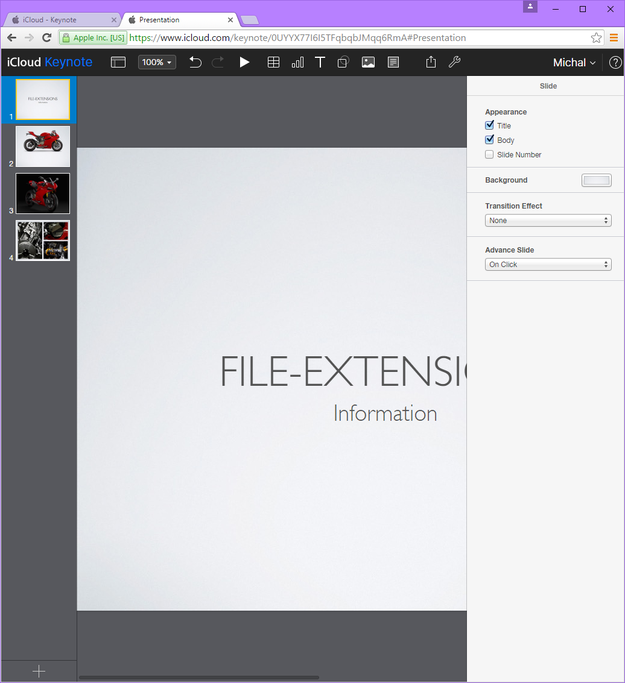 Keynote for iCloud edit document