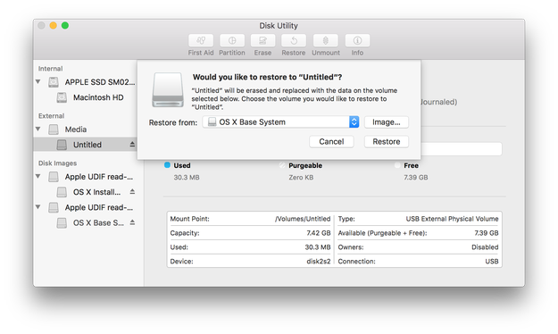 Apple Disk Utility restore USB flash drive