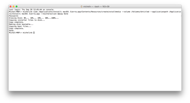 Create macOS Sierra USB bootable drive
