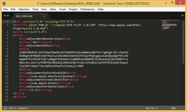 AAE sidecar file preview in Sublime Text