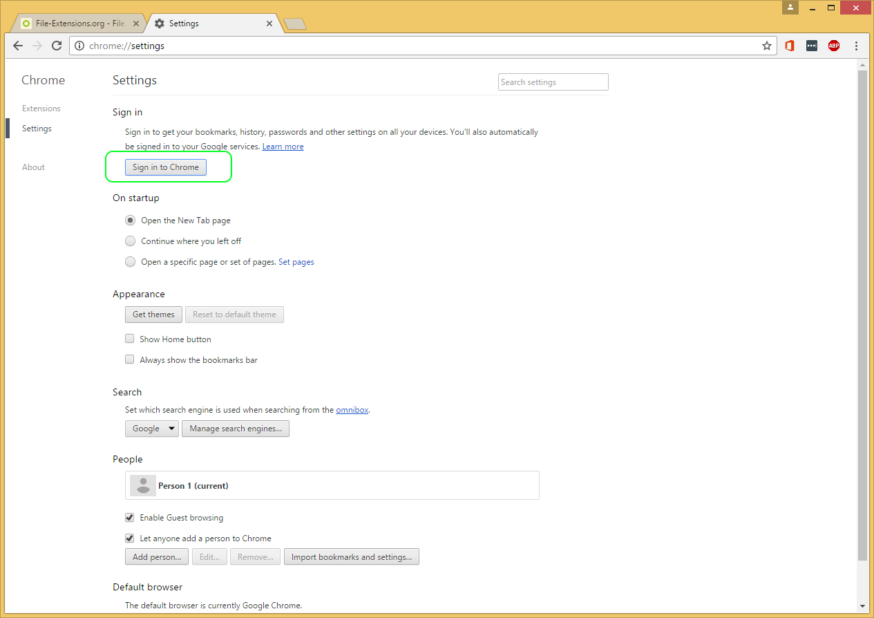 Google theme reset - Chrome Option Menu Login To Chrome Account