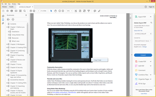 Adobe Acrobat copy image from pdf