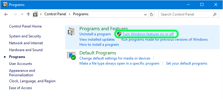 how to add remove programs in windows 10