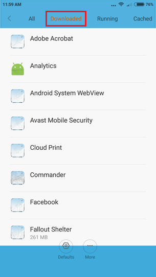 Google Android downloaded apps