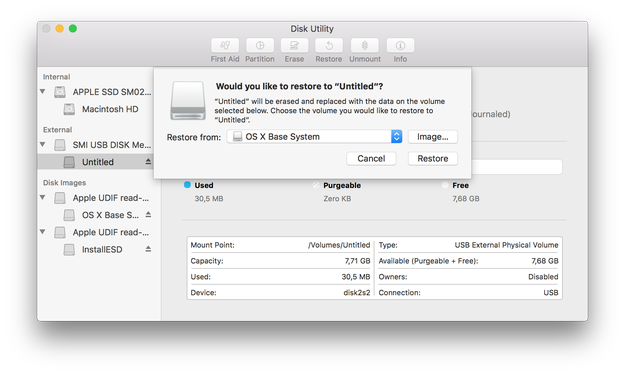 Disk Utility Restore USB drive