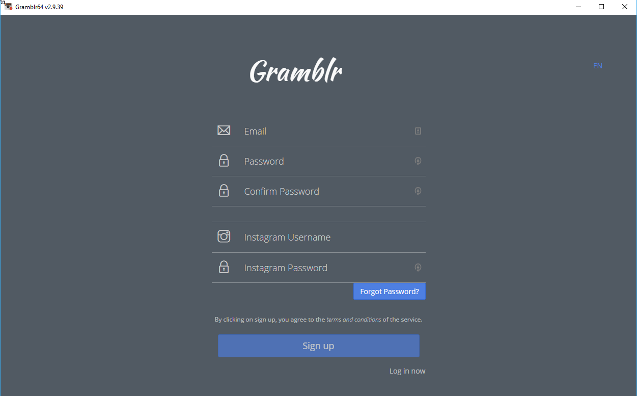 Gramblr login screen