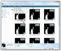 Windows Vista Eplorer thumbnail view with various file type related actions